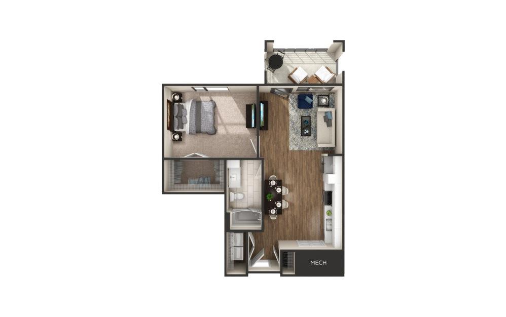 Poppleton - 1 bedroom floorplan layout with 1 bath and 780 square feet.