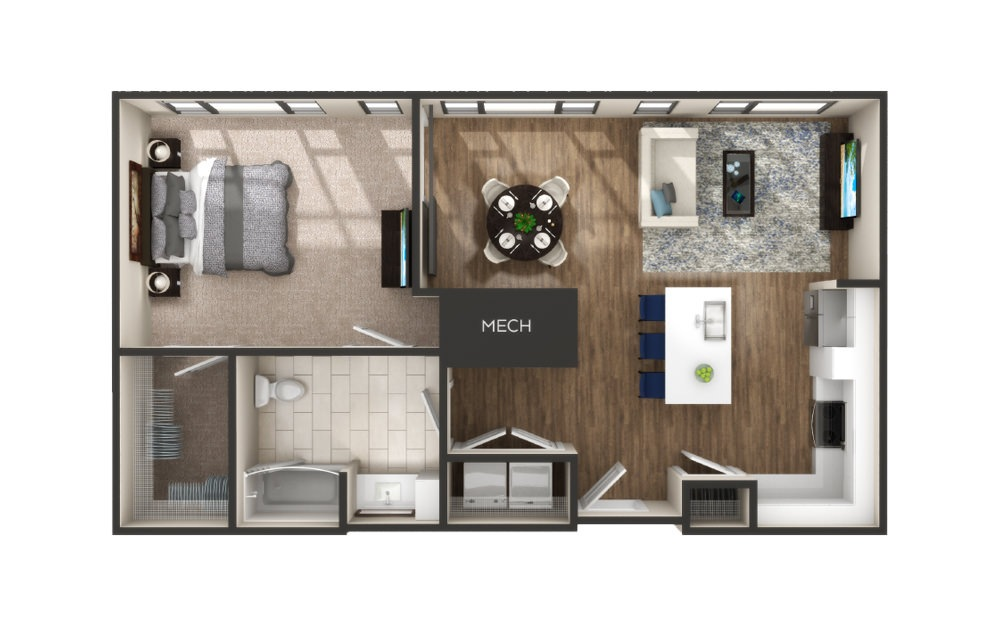 Maple - 1 bedroom floorplan layout with 1 bath and 833 square feet.