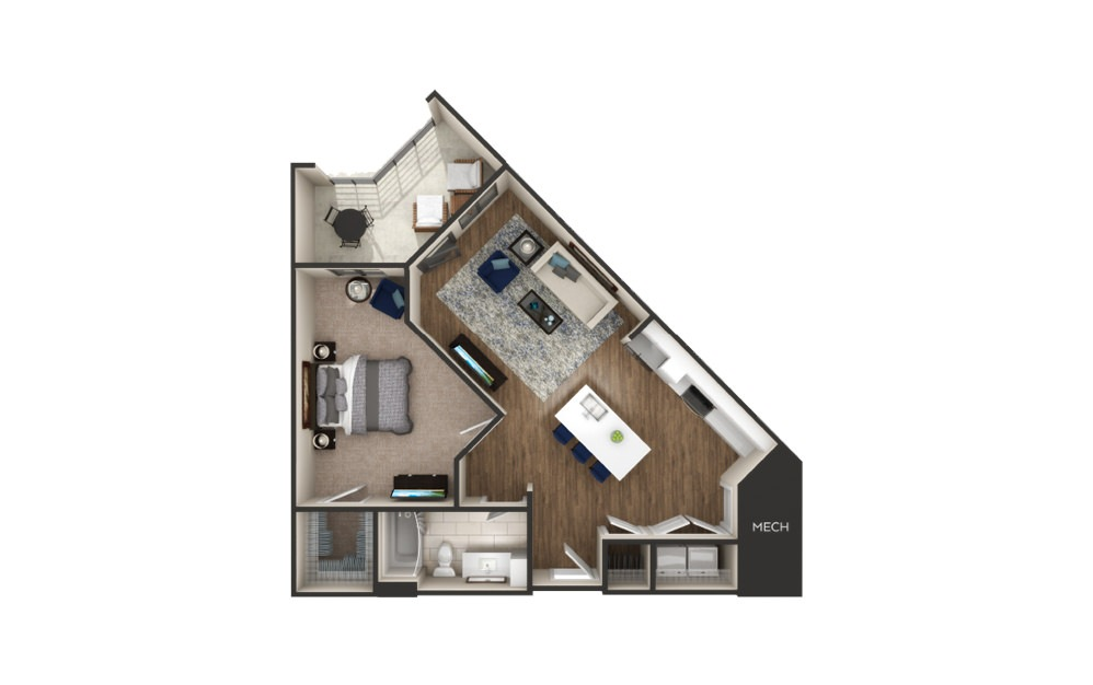 Lincoln - 1 bedroom floorplan layout with 1 bath and 844 square feet.