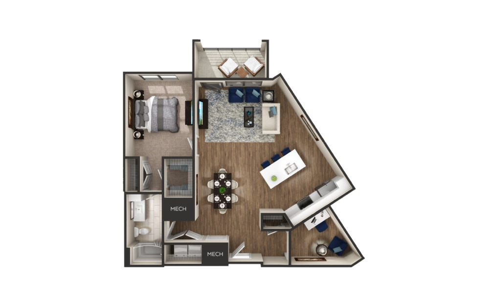 Normandy - 1 bedroom floorplan layout with 1 bath and 1062 square feet.