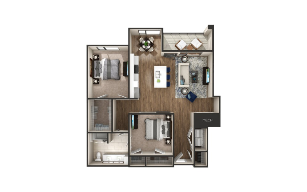Catalpa - 2 bedroom floorplan layout with 1 bath and 1121 square feet.