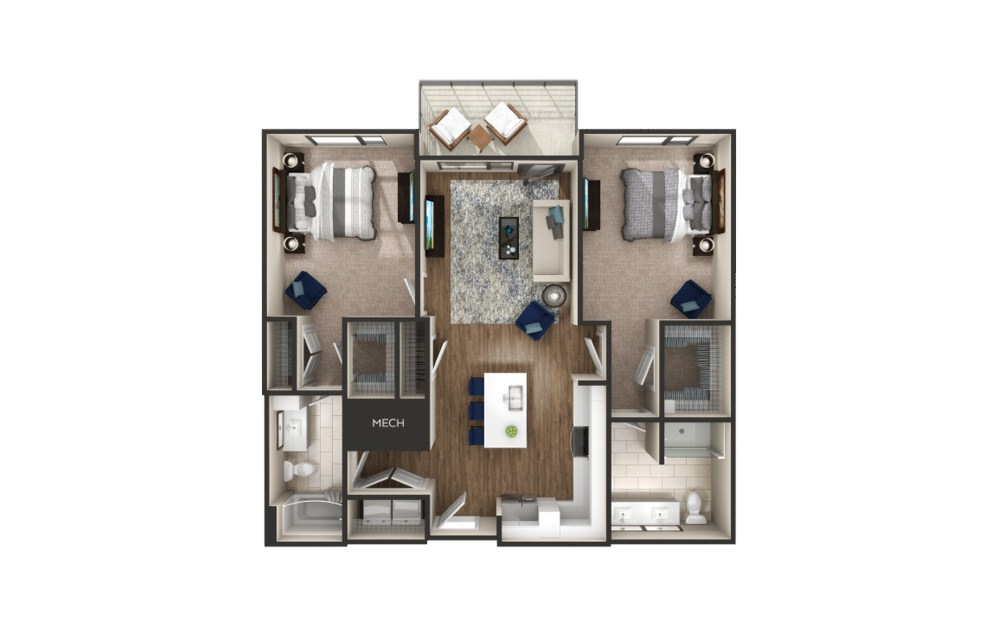 Lafayette - 2 bedroom floorplan layout with 2 baths and 1000 to 1184 square feet.
