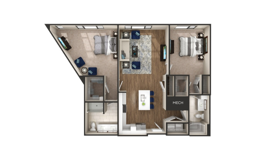 Tiffany - 2 bedroom floorplan layout with 2 baths and 1234 to 1261 square feet.