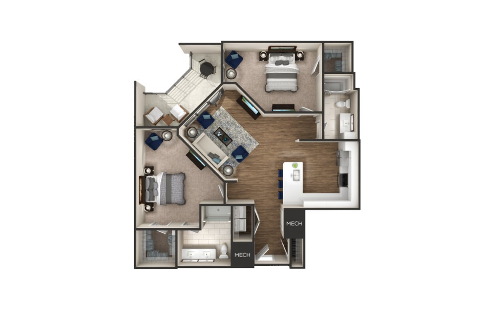 Amherst - 2 bedroom floorplan layout with 2 baths and 1255 square feet.