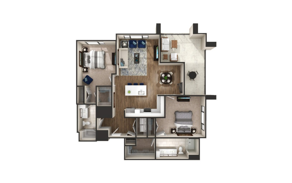 Cambourne - 2 bedroom floorplan layout with 2 baths and 1316 square feet.