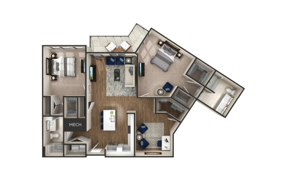Lewiston - 2 bedroom floorplan layout with 2 baths and 1316 to 1464 square feet.