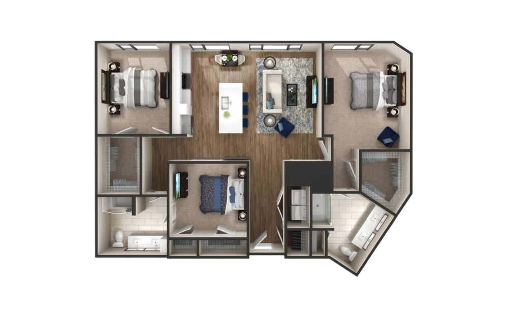Breckenridge - 3 bedroom floorplan layout with 2 baths and 1469 square feet.