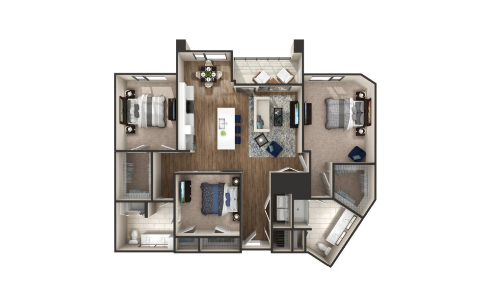 Grand - 3 bedroom floorplan layout with 2 baths and 1489 square feet.