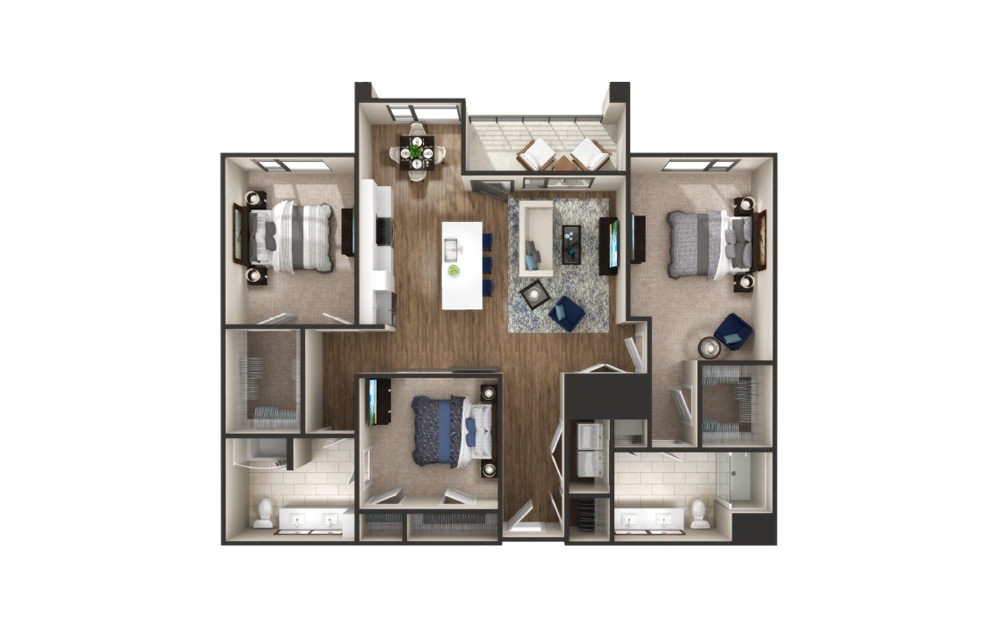 Canfield - 3 bedroom floorplan layout with 2 baths and 1512 to 1526 square feet.