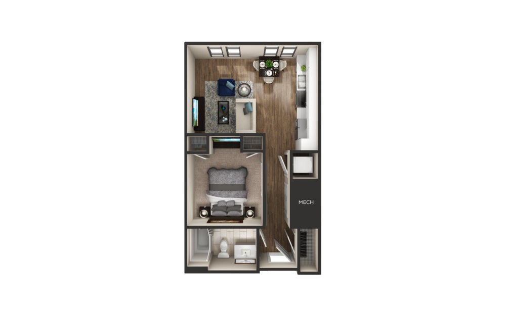 Auburn - 1 bedroom floorplan layout with 1 bath and 564 to 582 square feet.