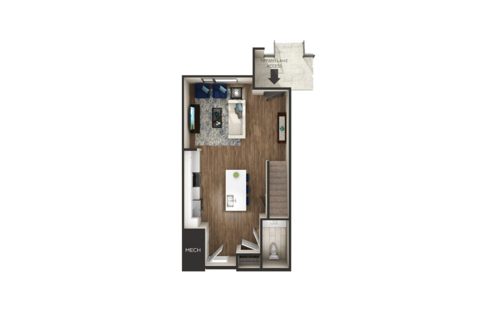 Mack - Townhome - 1 bedroom floorplan layout with 1.5 bath and 1130 square feet. (Floor 1)