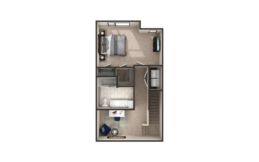 Mack - Townhome - 1 bedroom floorplan layout with 1.5 bath and 1130 square feet. (Floor 2)