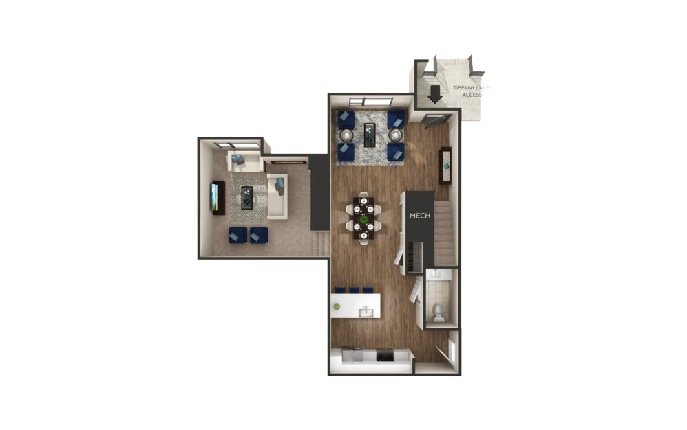 Fisher - Townhome - 1 bedroom floorplan layout with 1.5 bath and 1422 square feet. (Floor 1)