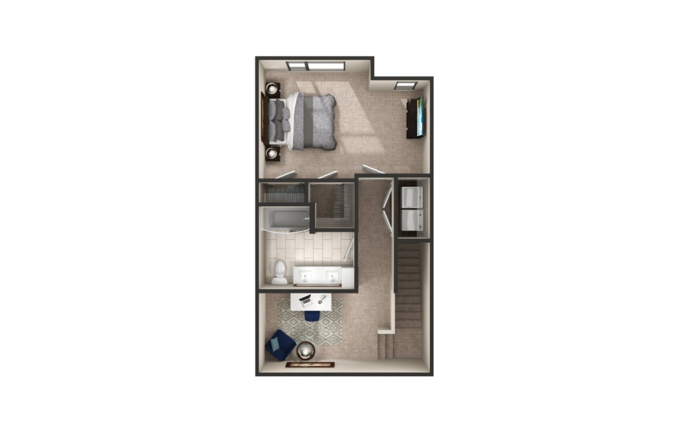 Fisher - Townhome - 1 bedroom floorplan layout with 1.5 bath and 1422 square feet. (Floor 2)
