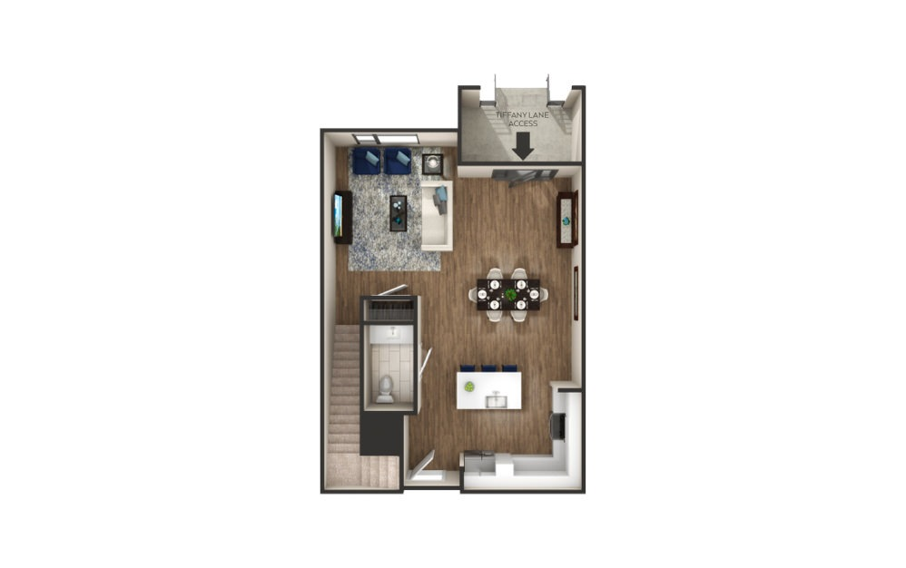Jefferson - Townhome - 2 bedroom floorplan layout with 2.5 baths and 1530 square feet.